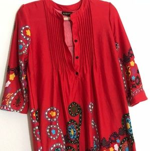 Reborn Sz XL Red w Multicolor Floral Tunic Dress